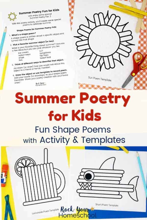 Summer Poetry for Kids activity plus sun, lemonade, & shark templates with blue & yellow pencils, glue stick, red scissors on red & white plaid paper & yellow & blue paper