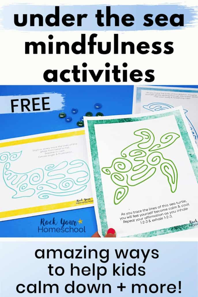 Woman holding sea turtle mindfulness activity to feature how these 6 free under the sea mindfulness activities to help kids calm down & practice growth mindset skils