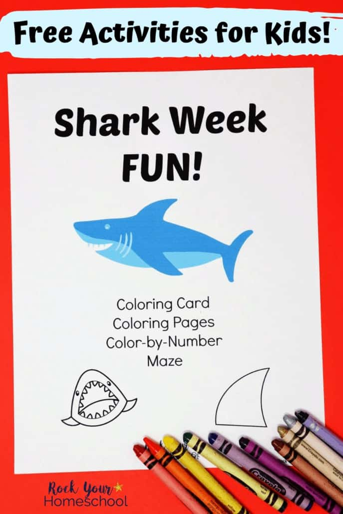 Shark Week Fun cover with crayons to features the spectacular ways you can celebrate Shark Week with kids or enjoy shark activities any time of year