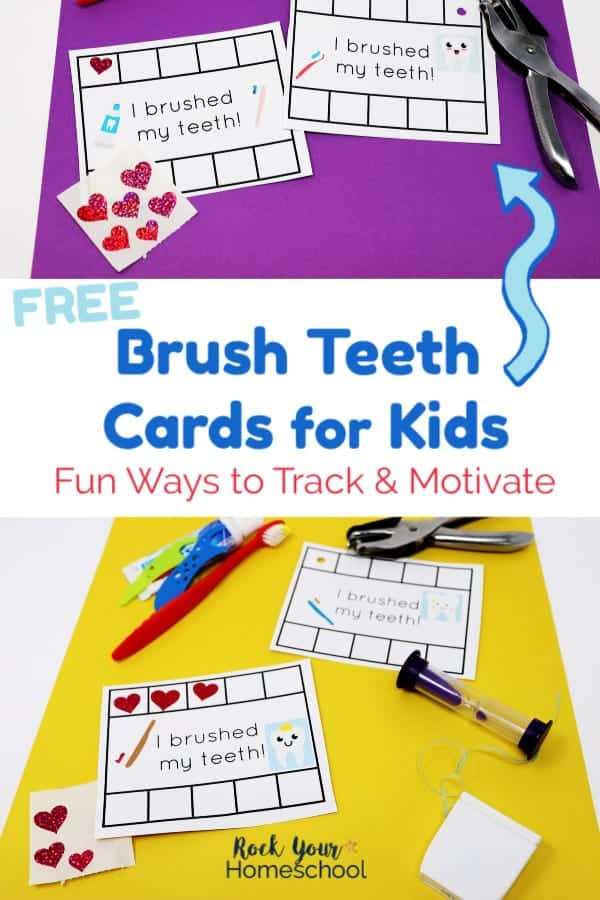 Brush Teeth Cards with red toothbrush, toothpaste, blue & green flossers, purple egg timer, dental floss, hole punch, & heart stickers on purple and yellow papers