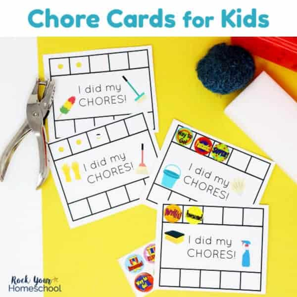 Get your free printable set of Chore Cards for Kids to keep track of jobs done & motivate.