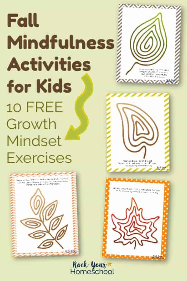 Examples of Fall Mindfulness Activities for Kids printables with leaves formed by lines on light green background