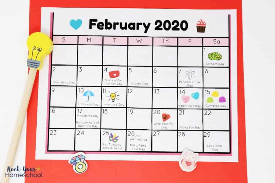 graphic relating to Kids Printable Calendar identify Totally free Calendar of Enjoyment Vacations for Youngsters in direction of Rejoice - Rock