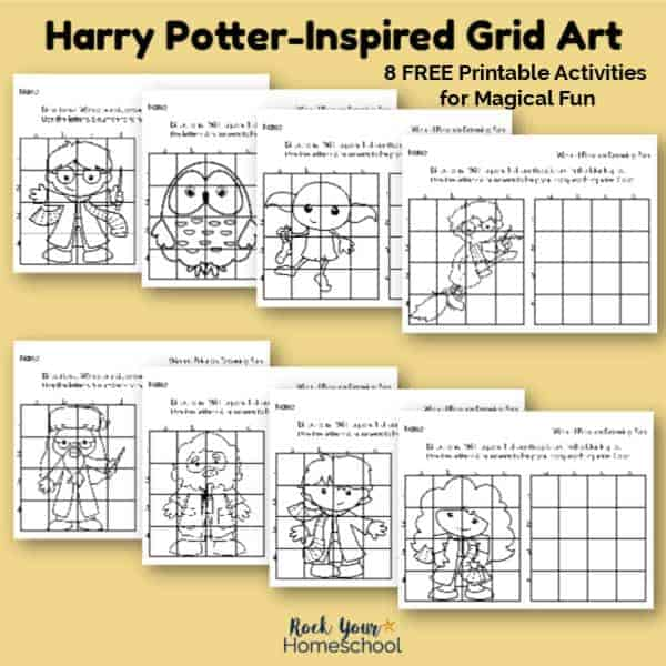 These free printable grid art activities featuring Harry Potter characters are awesome for magical fun.