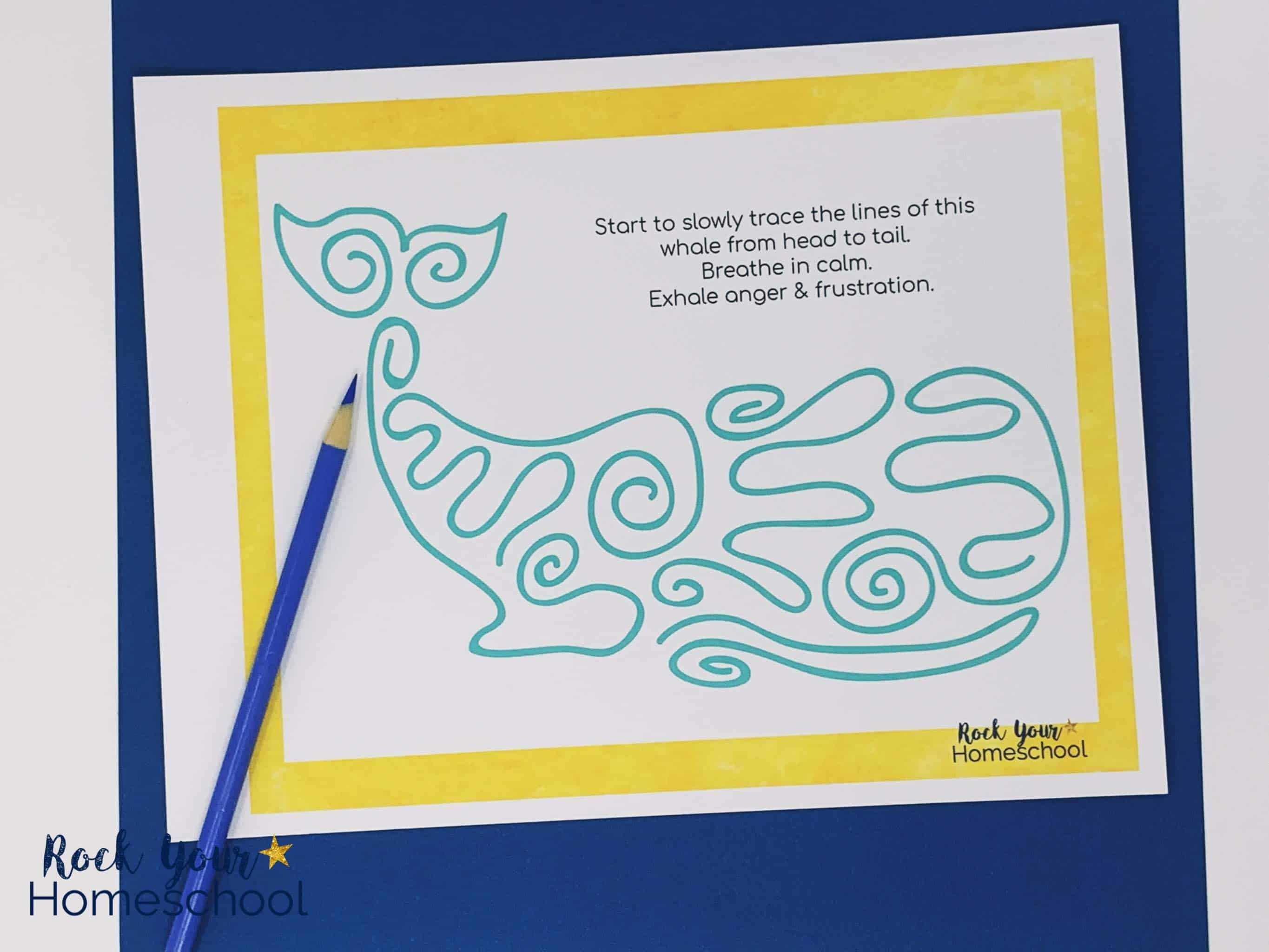 This printable mindfulness activity featuring a whale is an excellent way to practice growth mindset skills.