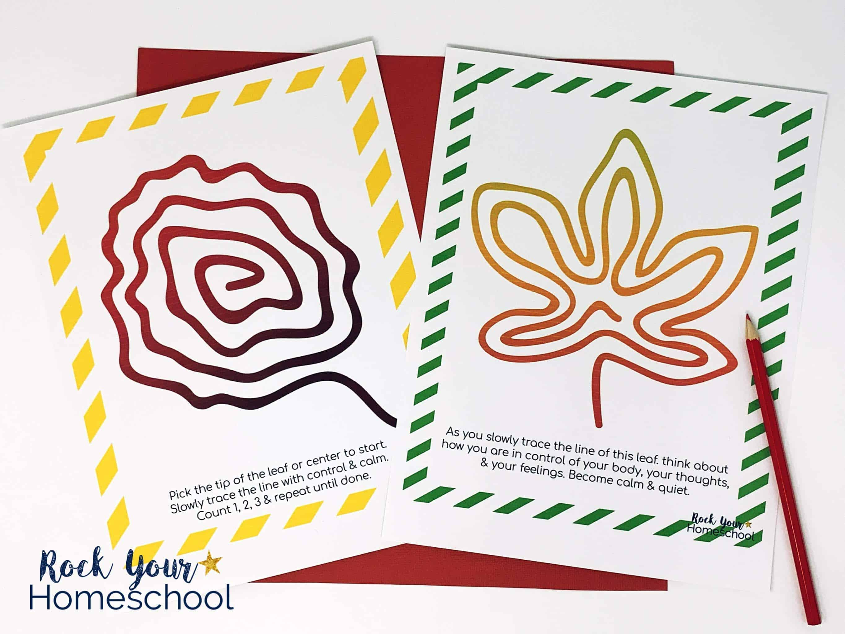 These free printable mindfulness activities for kids featuring Fall leaves are easy yet powerful practices to learn growth mindset skills.