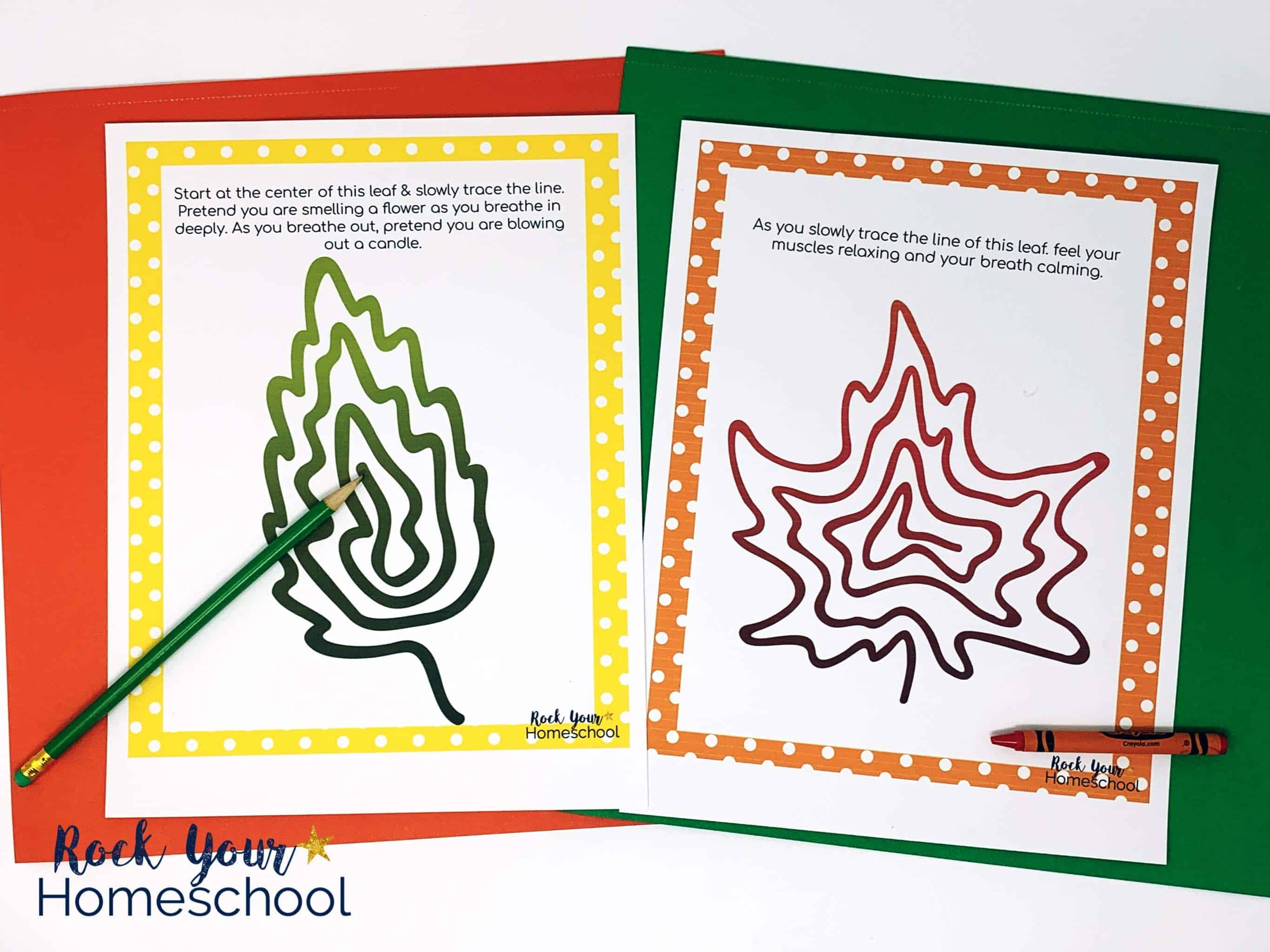 Your kids will enjoy these gentle growth mindset exercises featuring Fall foliage.