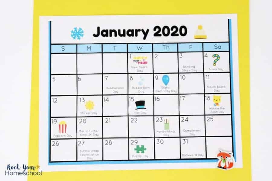 Free Calendar of Fun Holidays for Kids to Celebrate (UPDATED 2020