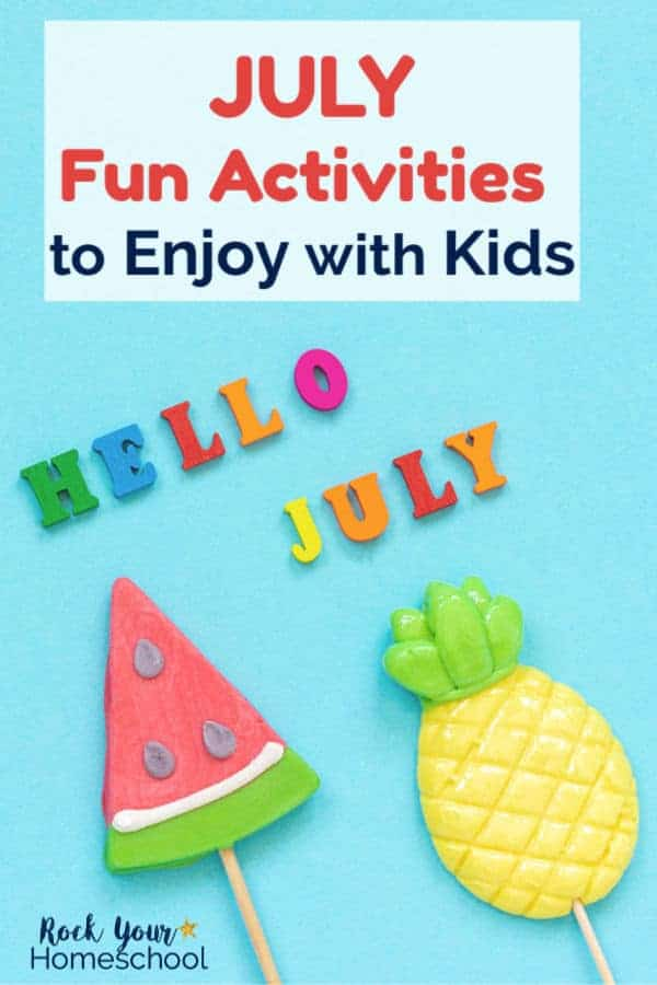 Clay watermelon & pineapple fruits on popsicle sticks with turquoise background and HELLO JULY in rainbow wood letters