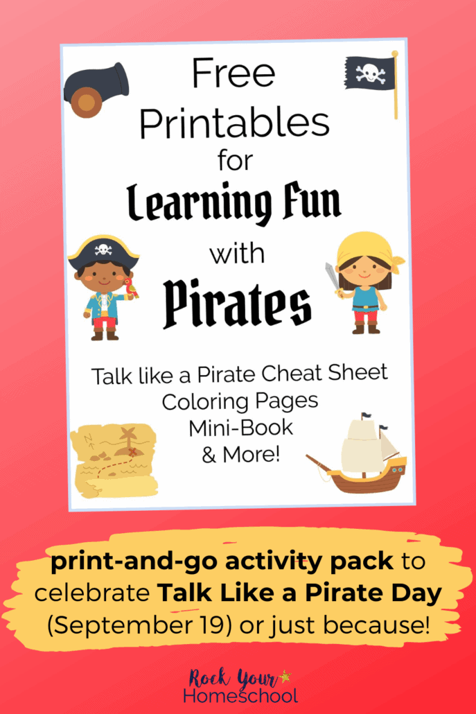 cover for Learning Fun with Pirates activity pack to feature the super fun activities & resources you can enjoy with your kids on Talk Like a Pirate Day (September 19)