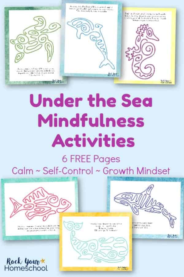 6 free Under the Sea Mindfulness Activities printables featuring sea turtle, dolphin, seahorse, fish, orca, & whale on light blue background