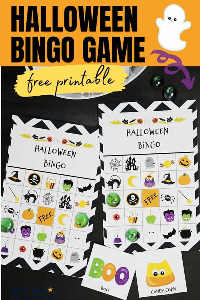 Halloween bingo game cards on black background to feature all the holiday fun you'll have with this free Halloween Bingo Game
