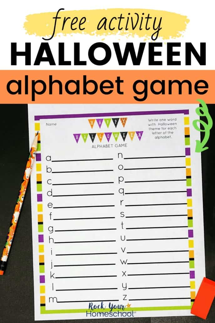 Halloween alphabet game on black background with pencil & orange eraser to feature the easy holiday fun you'll have with this free printable activity