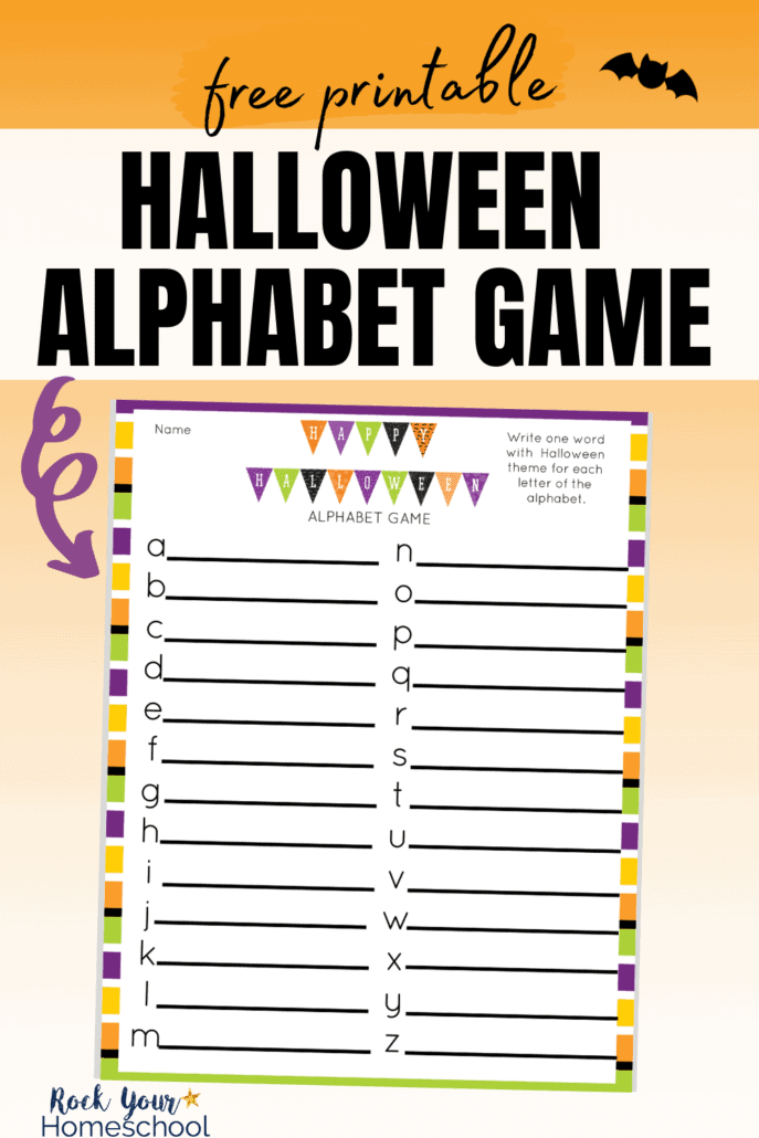 Halloween alphabet game printable on orange gradient background to feature the awesome holiday fun you'll have with this free printable activity