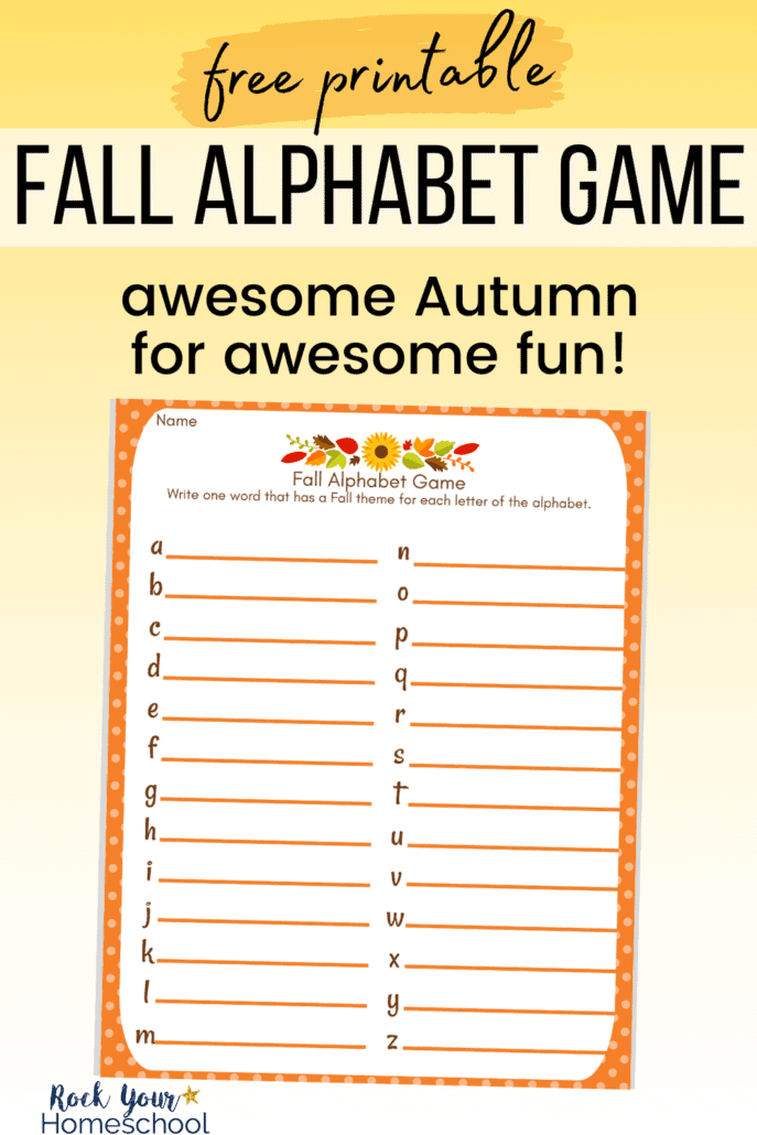 Fall Alphabet Game printable to feature the awesome Autumn fun you'll have with this free printable activity