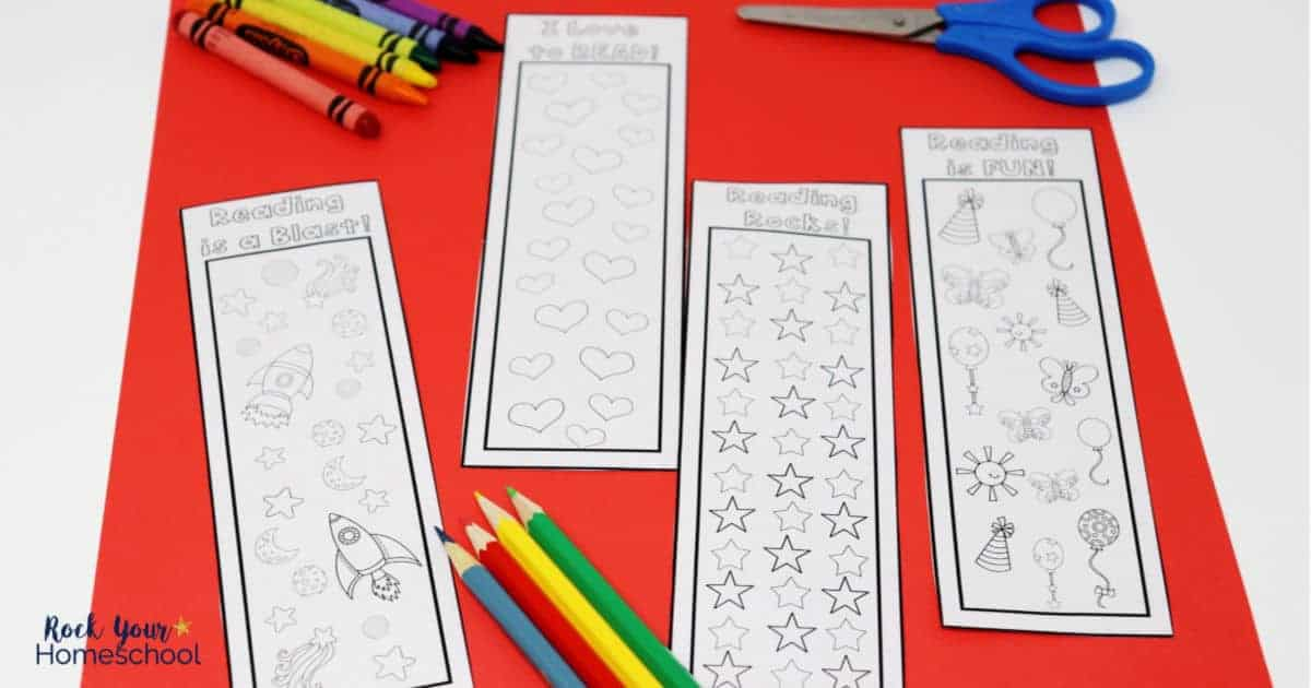 Your kids will have a blast using these free coloring bookmarks for reading tracker fun.