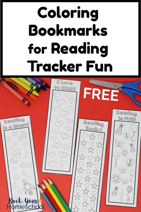 4 black and white coloring bookmarks on red paper with crayons & blue-handled scissors