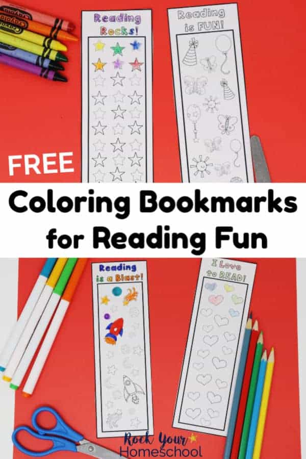 4 different coloring bookmarks for reading tracker fun on red paper with crayons, scissors, markers, & color pencils