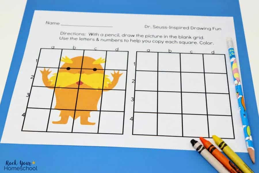This Lorax Grid Art Activity is awesome for drawing fun for kids while you celebrate Dr. Seuss Day, Earth Day, or any day you'd like to have Dr. Seuss-Inspired Fun!