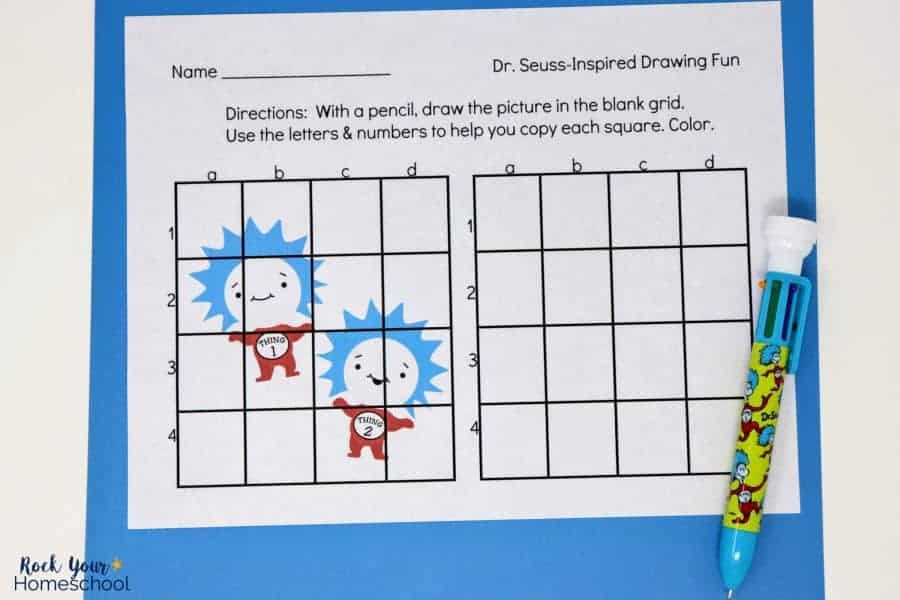 Make drawing fun with these Dr. Seuss-Inspired Grid Art Activities. Great challenges, especially this printable featuring Thing 1 & Thing 2.