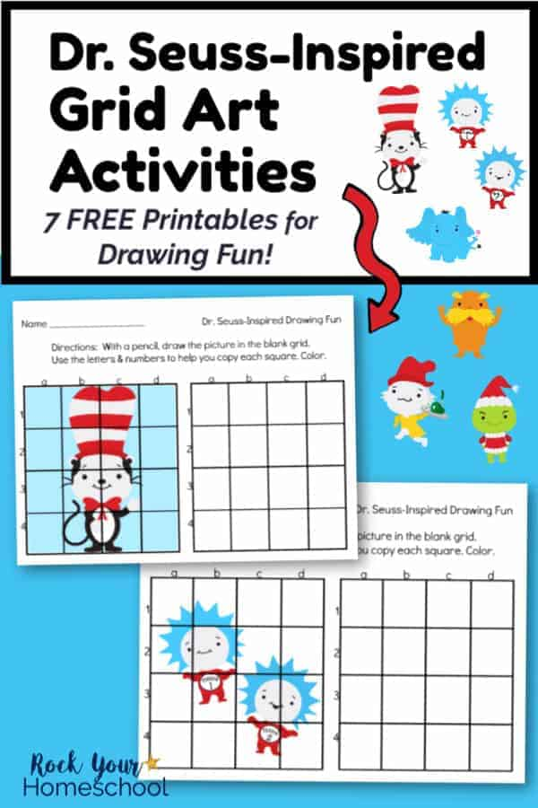 2 Dr. Seuss-Inspired Grid Art Activities featuring The Cat in the Hat & Thing 1 & Thing 2 on blue background and The Cat in the Hat, Horton the Elephant, Thing 1, Thing 2, The Lorax, Sam I Am, & The Grinch clipart
