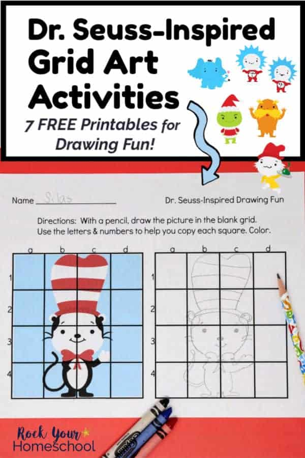 Dr. Seuss-Inspired Grid Art Activity featuring cute Cat in the Hat with pencil & crayons on red paper & Horton the Elephant, Thing 1, Thing 2, The Lorax, The Grinch & Sam I Am clipart