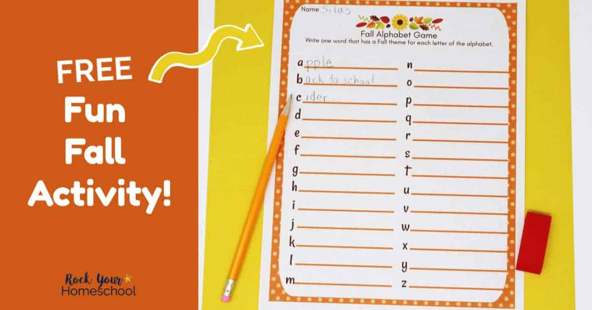 Boost your seasonal celebration with this free Fall Alphabet Game activity.