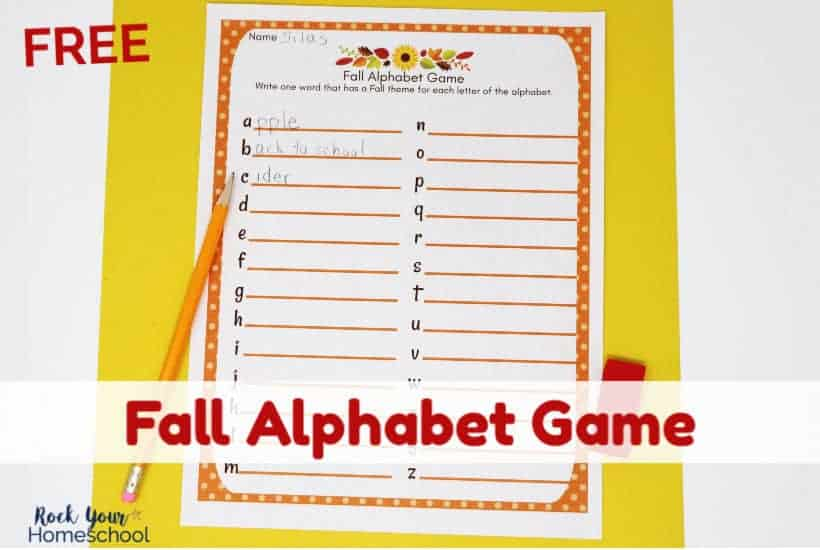 This free Fall Alphabet Game printable activity is so much fun for parties, seasonal events, & more!