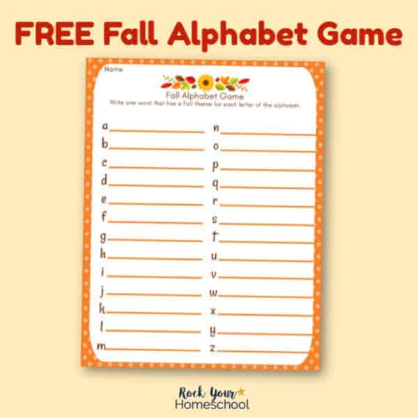 Have some awesome fun this season with this free Fall Alphabet Game.