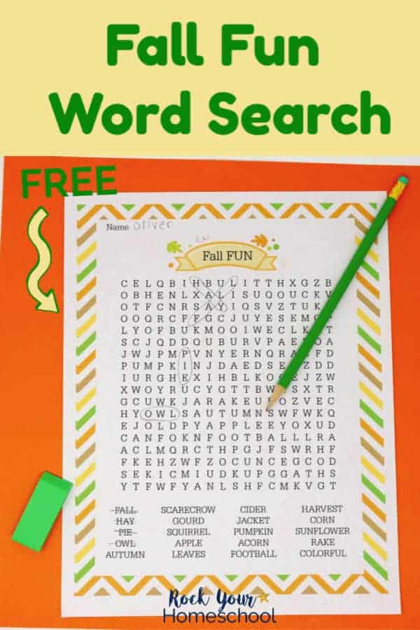 Fall Fun Word Search printable activity with orange, gold, brown, & green themes on orange paper with green pencil & green eraser
