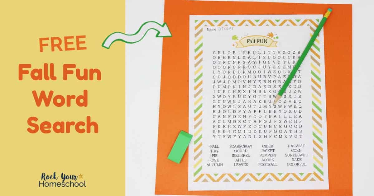 Enjoy an easy seasonal activity with your kids using this free Fall Fun Word Search.