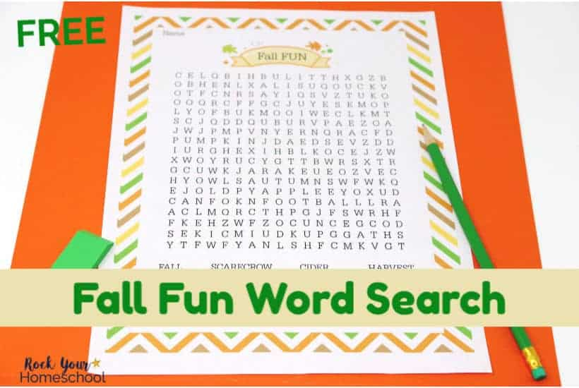 Have a blast with your kids using this free Fall Fun Word Search printable activity.