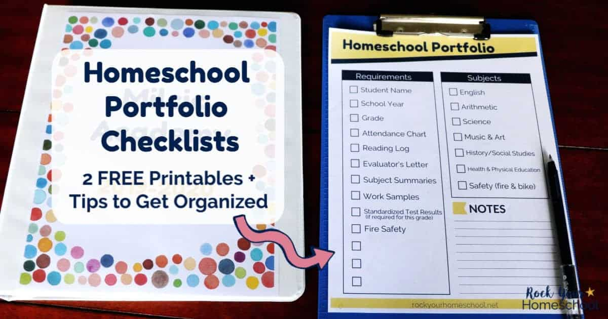 Make the process easy with these free 2 free homeschool portfolio checklists.