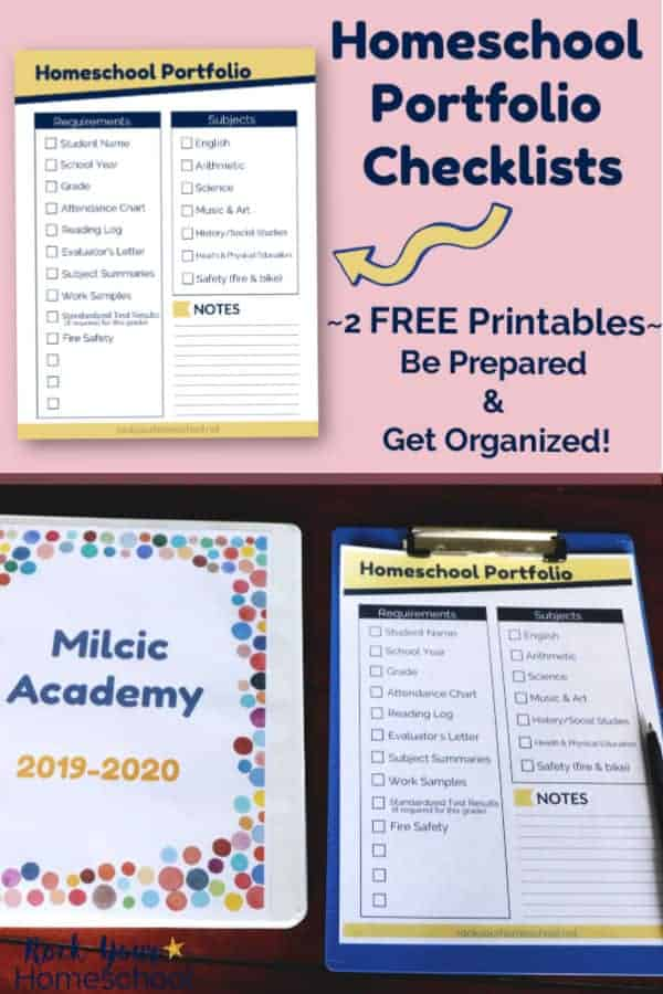 Homeschool portfolio checklist on blue clipboard & pen with homeschool binder on dark wood