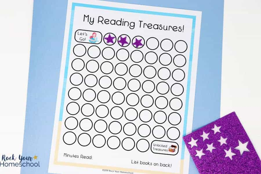 Fun stickers & stamps make using this mermaid-themed reading tracker chart a blast to use.