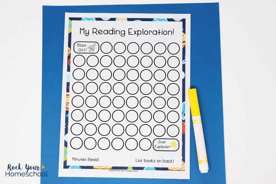 Space-themed reading tracker chart will make reading a blast for your kids!