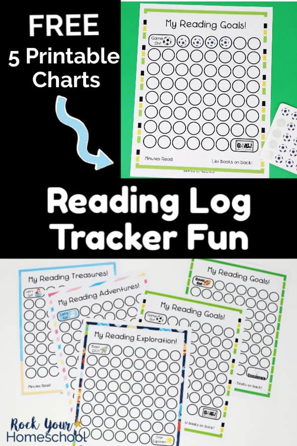 Soccer-themed reading tracker chart on green background with soccer ball stickers and 5 reading log printable charts on white background