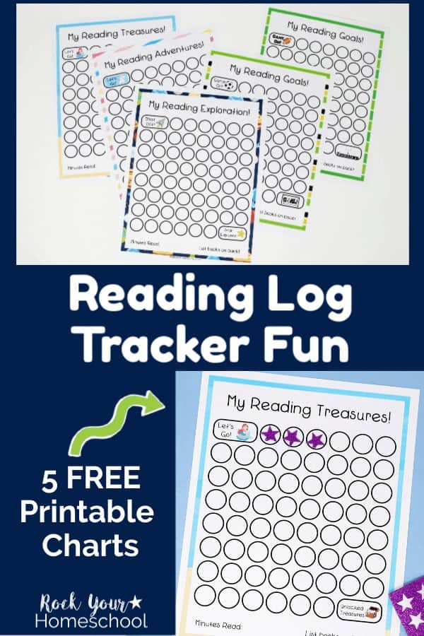 5 reading log printable charts on white background and mermaid-themed reading tracker chart on light blue paper with purple star stickers