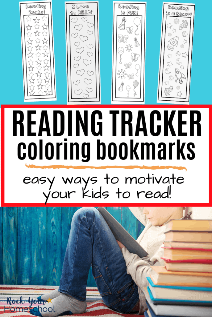 4 reading log coloring bookmarks & boy reading with a stack of books to feature how these free coloring bookmarks can be used as reading logs & more