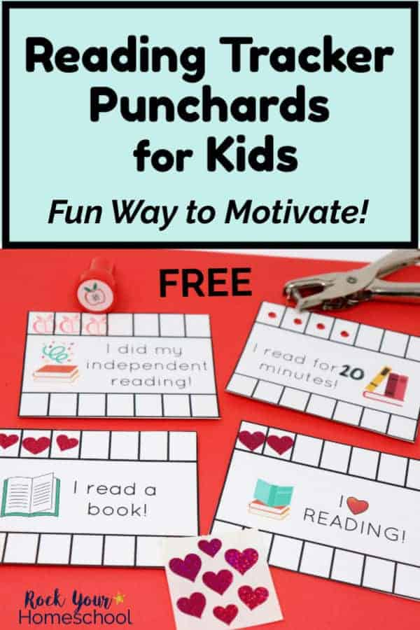 4 reading tracker punchcards with stamp & heart stickers & hole punch on red paper for your kids to enjoy & use
