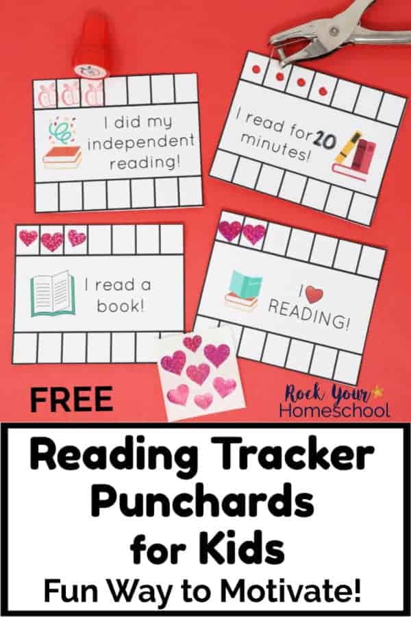 4 reading tracker punchcards with hole punch & heart stickers on red paper for your kids to enjoy