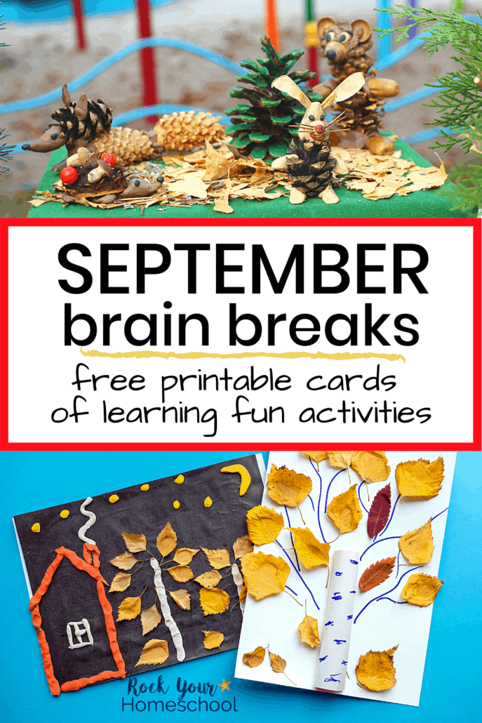 Creative Fall nature scene and art projects to feature how you can easily boost learning fun at home with these free September brain breaks for kids