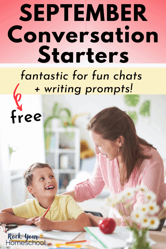 Mother and son smiling at each other as they sit at the table while boy does schoolwork to feature how you can easily use these free September conversation starters for fun chats or writing prompts