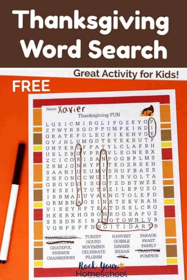Thanksgiving word search printable with brown marker on orange paper