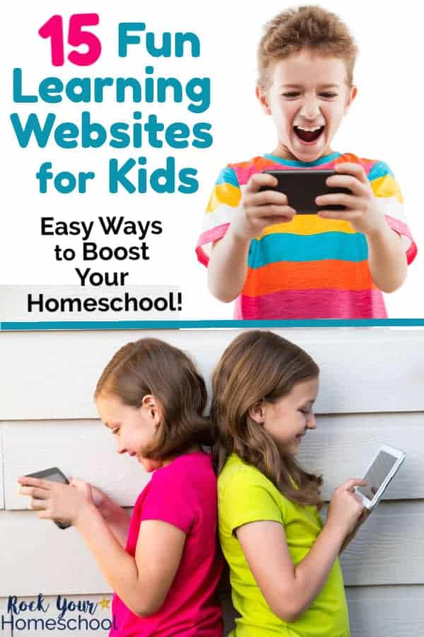 Smiling boy wearing colorful striped shirt is holding phone & smiling twin sisters with bright shirts learning against white siding of house as they use tablets for learning fun