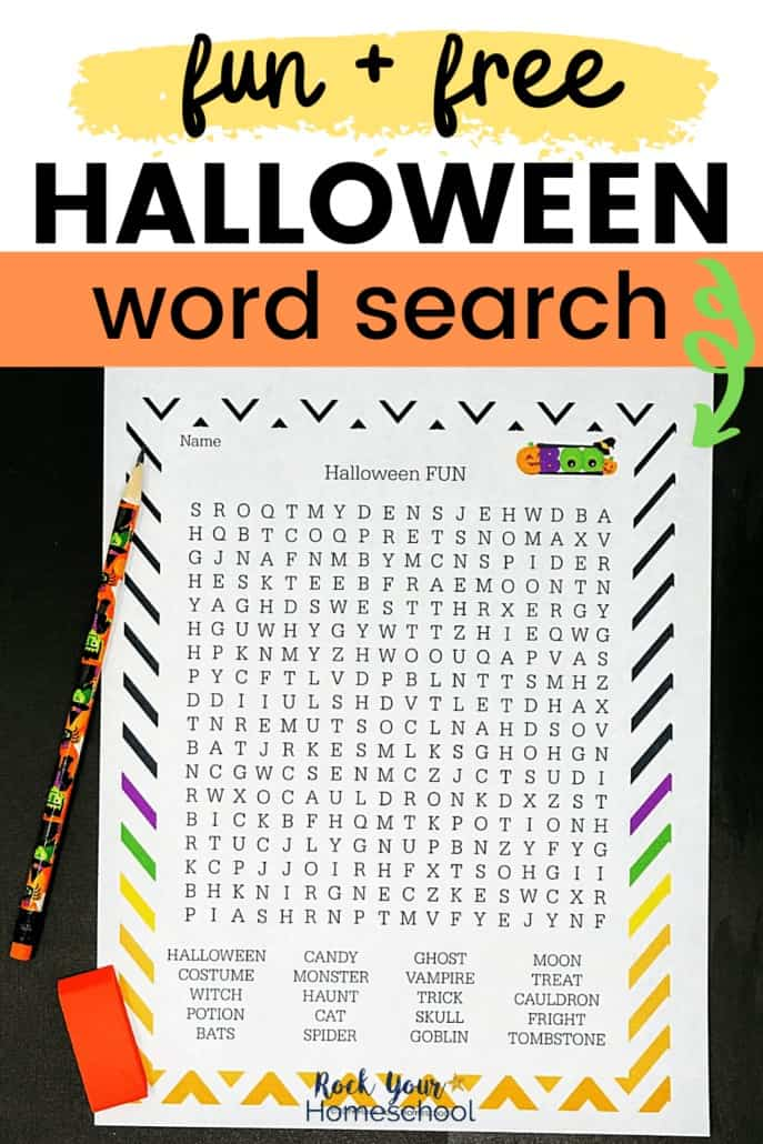 Halloween word search on black background with Halloween pencil & orange eraser to feature the awesome holiday fun your kids will have with this free printable activity