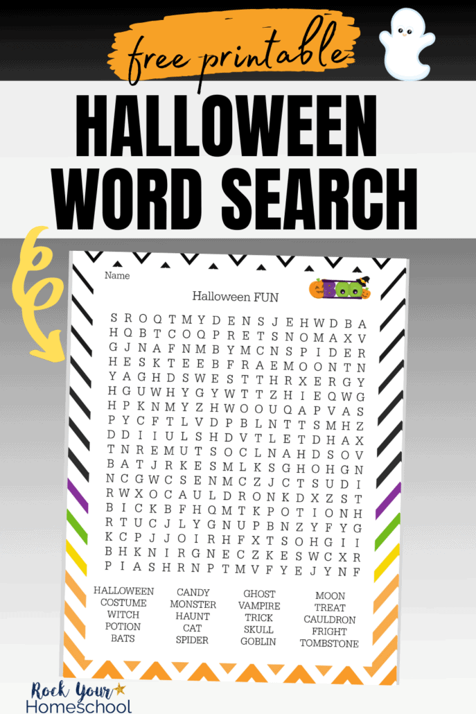 Halloween word search printable on black gradient background to feature the amazing fun your kids will have with this free printable activity