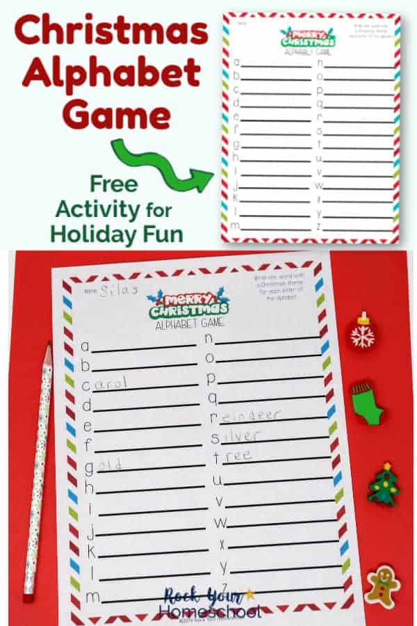Christmas Alphabet Game printable page with holiday pencil & mini-erasers on red background