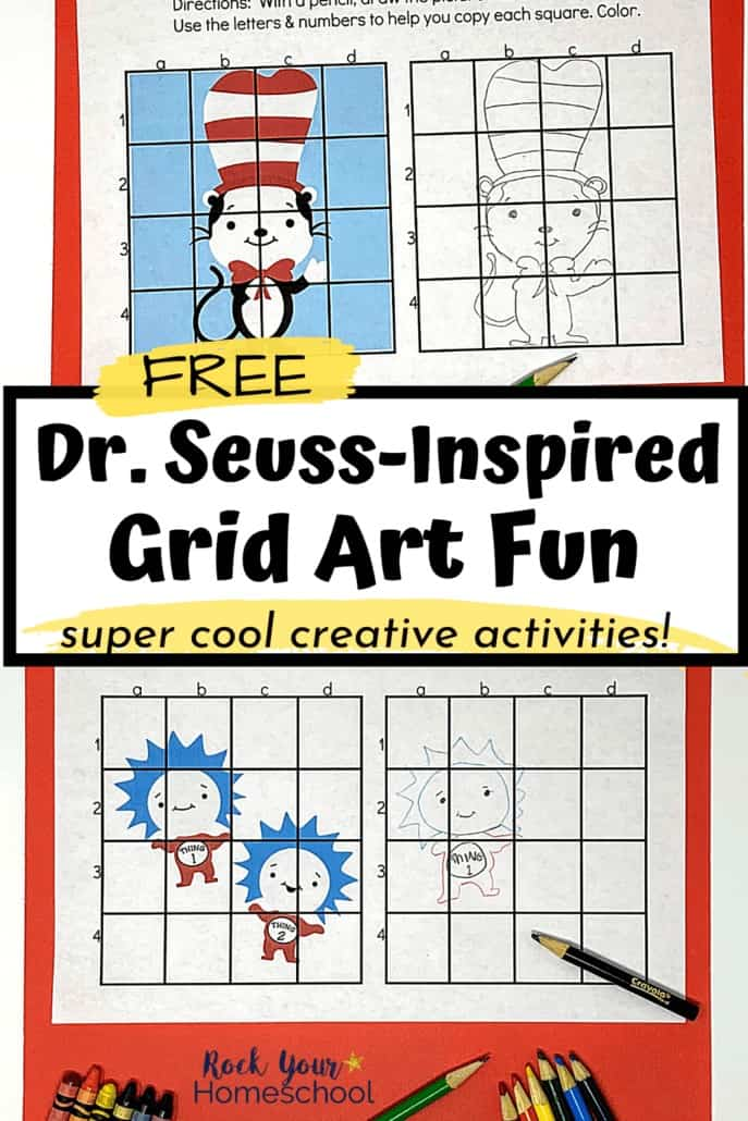The Cat in the Hat and Thing 1 & Thing 2 Dr. Seuss Grid Art activities included in this free pack that inspired creative drawing fun