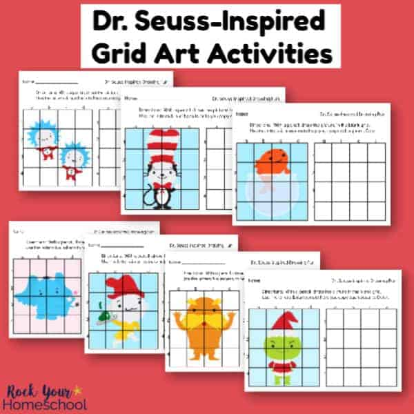 Enjoy these 7 free Dr. Seuss-Inspired Grid Art Activities with your kids for drawing fun.
